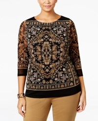 Charter Club Plus Size Printed Mesh Top Only At Macy's Cloud Combo