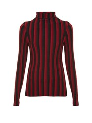 Altuzarra Bessie Long Sleeved Roll Neck Top Black Red