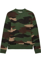Off White Oversized Camouflage Intarsia Wool Sweater Army Green