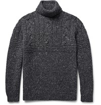 Brunello Cucinelli Melange Cable Knit Wool Blend Rollneck Sweater Gray