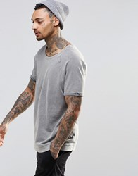 Asos Loungewear T Shirt With Scoop Neck And Acid Wash Gray