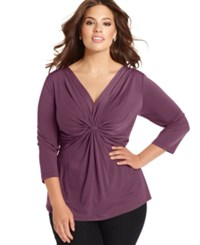 Ny Collection Plus Size Three Quarter Sleeve Twist Front Top Amaranth Purple