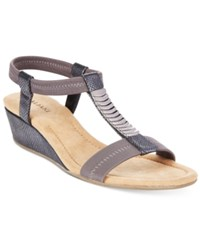 Alfani Women's Vacay Wedge Sandals Only At Macy's Women's Shoes Pewter Lizard