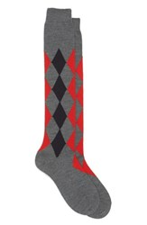 Maria La Rosa Women's Argyle Wool Blend Knee Socks Light Grey Bright Red Navy