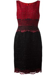 Talbot Runhof Fitted Dress Red