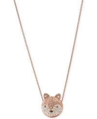 Fossil Necklace Rose Gold Tone Crystal Pave Fox Pendant Necklace