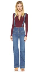 Free People Penrose Flared Overall Jeans Brightest Blue