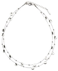 Nine West Necklace Silver Tone Disc Two Row Necklace