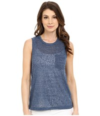 Blank Nyc Muscle Tee With Overlapping Racerback Detail Blue Women's Sleeveless