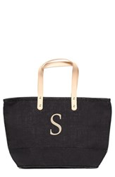 Cathy's Concepts 'Nantucket' Personalized Jute Tote Grey Black S