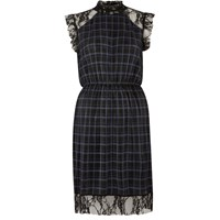 River Island Womens Navy Check Pleated Dress With Lace Trim