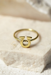 Forever 21 Sunahara Horseshoe Lucky Charm Ring Gold