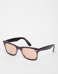 Ray Ban Mirror Wayfarer Purple Rose Gold