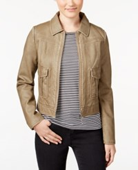 Collection B Juniors' Weathered Faux Leather Zipper Front Jacket Olive