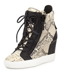 Giuseppe Zanotti Snake Embossed Metallic Painted Wedge Sneaker Black Pattern
