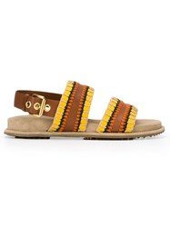 Car Shoe Buckled Sandals Brown