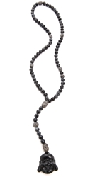 Hipchik Couture Agate Bead Y Necklace Black