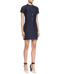 Halston Heritage Short Sleeve Snap Front Dress Midnight