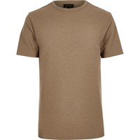 River Island Mens Camel Waffle Slim Fit T Shirt