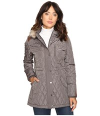 Lauren Ralph Lauren Faux Fur Trim Anorak Flannel Women's Coat Gray