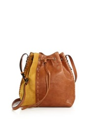 Dannijo Thalia Leather And Suede Bucket Bag Tan Yellow