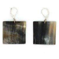 L'artisan Createur Large Square Horn Earrings Silver