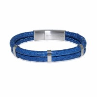Marlin Birna Atlantic Salmon Leather Bracelet Double Cord Dark Blue And Stainless Steel Blue Silver