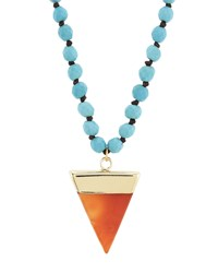 Panacea Long Howlite And Agate Pendant Necklace Women's