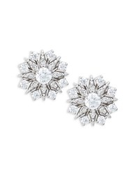 Nadri Cubic Zirconia Snowflake Earrings Silver