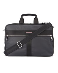 Tommy Hilfiger Black Darren Coated Canvas Double Zip Briefcase