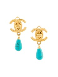 Chanel Vintage Turquoise Drop Clip On Earrings Metallic