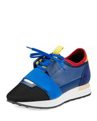 Balenciaga Mixed Media Leather Lace Up Sneaker Variante Marine Blue