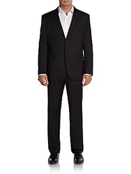 Saks Fifth Avenue Red Trim Fit Solid Wool Suit Black Surge