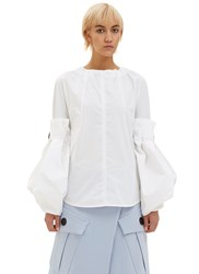 Marni Oversized Convertible Poplin Blouse White