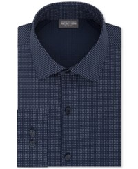 Kenneth Cole Reaction Men's Slim Fit Techni Stretch Performance Geometric Dress Shirt Midnight Blue