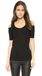 Splendid Drapey Lux Cold Shoulder Top Black