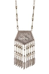 Stephan And Co Textured And Fringed Pendant Necklace Metallic