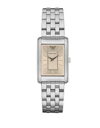 Emporio Armani Stainless Steel Rectangular Sunray Silver Watch