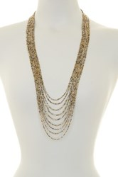 Spring Street Tri Tone Beaded Long Necklace Metallic