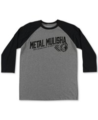 Metal Mulisha Men's Rider Raglan Graphic Print T Shirt Charcoal Heather