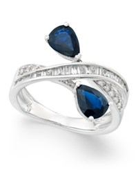 Macy's Sapphire 1 3 4 Ct. T.W. And Diamond 3 8 Ct. T.W. Crisscross Teardrop Ring In 14K White Gold