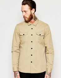 Asos Military Shirt In Stone With Revere Collar In Long Sleeve Stone