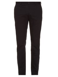 Maison Martin Margiela Slim Fit Cotton And Linen Blend Chino Trousers Dark Blue