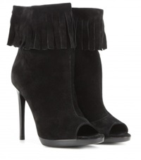 Burberry Pelling Suede Peep Toe Boots Black