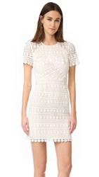 Shoshanna Geo Floral Lace Dress Ivory