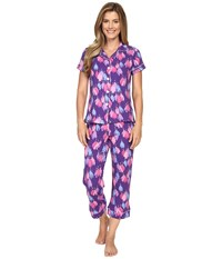 Bedhead Short Sleeve Cropped Bottom Pajama Set Purple Belle Of The Ball Women's Pajama Sets