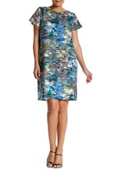 Maggy London Short Sleeve Linear Abstract Shift Dress Plus Size Blue