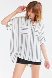 Silence And Noise Joey Striped Button Down Shirt Cream