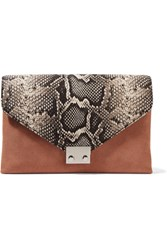Loeffler Randall Python Effect Leather And Suede Clutch Snake Print