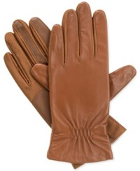 Isotoner Signature Smartouch Stretch Leather Tech Gloves Luggage